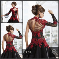 2019 Wedding Dresses Red and Black A- Line High Neck Lace App...