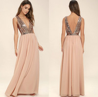 Fashion Blush Chiffon Sequined Bridesmaid Dresses For Summer...