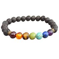 7 Farbe Charme natürlichen indischen Achat Edelstein Runde Form Perlen Lava Stein Chakra Heilung Armbänder Schmuck Geschenk