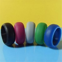 Men Women Silicone Wedding Ring Black Band Rings for Sports ...