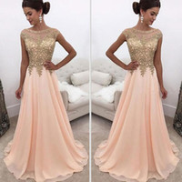 2017 Peach Sheer Crew Neck Long Prom Dresses Gold Lace Appli...