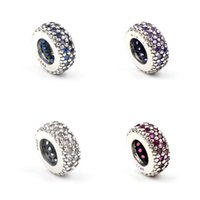 Authentic 925 Sterling Silver spacer beads multicolor crystal Rhinestones Big Hole Loose beads Fit Charm Bracelets DIY Findings Jewelry