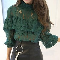 New Fashion 2017 Spring Noble Women Hollow Lace Blouse Shirt...