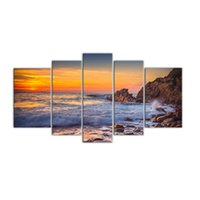 5 Pannelli Canvas Wall Art Sunset Sea View Pittura Stampa Seascape Pittura con cornice in legno moderna opera d'arte per la decorazione domestica pronta per essere appesa
