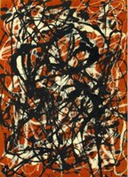 Framed Jackson Pollock Free Form Canvas Print Paintings On H...