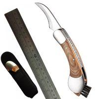 Im Freien faltender Pilz-Messer-Ernte-Jagd-scharfer Messer-fester Holzgriff und faltbare Reinigungsbürste mit Neopren-Beutel