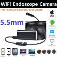 5.5mm WIFI Endoskop Kamera 1 / 1.5 / 2 / 3.5 / 5/10 M 6 LED Muayene Yılan Kamera USB Endoskop Mini Su Geçirmez Borescope Kamera IOS Android