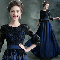 Dark Navy 3 4 Long Sleeve Prom Dresses 2018 A Line Jewel Flo...