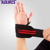 Venda por atacado- AOLIKES 1 par de halterofilismo pulseira esporte formação profissional bandas de mão suporte de pulso correias Wraps guardas para ginásio de fitness
