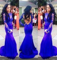 Королевские синие кружевные платья выпускного вечера облегающие прозрачные вечерние платья с длинными рукавами