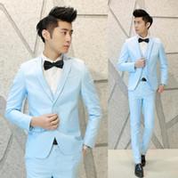 M-XXXL 3 шт (куртка + жилет + Pant) Мужские костюмы с брюками мальчиков Пром Свадебный костюм для дружки Slim Fit Terno синий Мужчина для