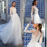Vestidos de novia modestos de Milla Nova con apliques de manga larga Vestido de boda de país del estilo de la playa ilusión Más el vestido nupcial del tamaño