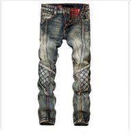 Wholesale- men jeans straight cat to be personalized vintage color jeans men tide brand trousers Tide male cowboy pants do old pants