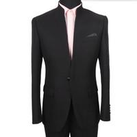 Commercio all'ingrosso- Vendita calda Uomo abiti Moda Black Men's Wedding Mandarin Collar smoking Suits Belle formale Abiti da ballo formale (giacca + pantaloni)
