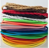 110V / 220V 100M / lot Size2 * 0.75 couleur double tissé / tressé câbles de câbles électriques lumières suspendues fil accessoires de rechange