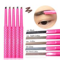 .2016 Nieuwe Make-up Wenkbrauw Enhancers Liner Potloden Waterdicht Langdurig Potlood Automatisch Rotatie Vierkant 5 Kleuren 8G 5 Stks