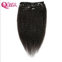 브라질 인간 머리카락 확장에 변태 스트레이트 클립 120g 8pcs / 세트 거친 야키 클립 인 100 % 브라질 버진 인간의 머리카락
