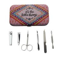 Atacado- 6 pcs / set melhores profissionais mulheres francesas menina viagem home prego cuidado pedicure ferramenta de presente produto manicure conjunto conjunto kit