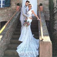 Vintage Lace Mermaid Abiti da sposa 2017 Sexy profondo scollo a V aperti schiena corta Cap Maniche Corte Treno Abiti da sposa Vestidos de Novia BA5497