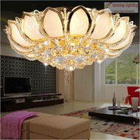 Moderno cilíndrico Golden Lotus Crystal Light Techo LED lámparas dormitorio sala