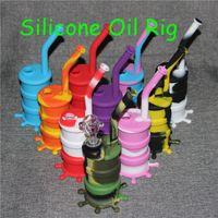 2019 Portable Hookah Silicone Barrel Rigs para fumar Dry Herb Unbreakable Water Percolator Bong Fumar Aceite Concentrado Tubo DHL