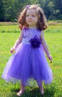Vestidos del desfile del niño de las lentejuelas púrpuras dulces Vestidos hermosos de la muchacha de la flor del tobillo Vestidos del desfile del bebé Vestido de la comunión de los niños