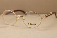 oro gafas de madera marcos Hombres o Mujeres Ronda de metal de las lentes de vidrios ópticos marco de la decoración del marco de madera tamaño de gafas: 55-22-135mm