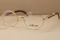Gold Metall Gläser Männer Holz oder Frauen Runde Optische Rahmen Rahmen Dekor Brillen Größe: 55-22-135mm FHXUG