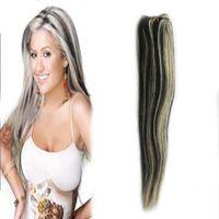 Pervian Virgin Hair EXTENSIONS EXTENSIONS DE CHEVEUX BULDLES 100G EXTENDUES DE CHEVEUX HUMUME TISSEZ 1PCS 1B / 613 Couleur de piano