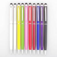 Métal 2 en 1 stylet capacitif stylo tactile stylo bille adapté à tous les téléphones capacitifs 500pcs / lot