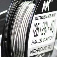 무료 배송 NK 프리미엄 듀얼 퓨즈 clapton 니켈 크롬 80 전선 28ga 40ma 라운드 와이어 vape 모드