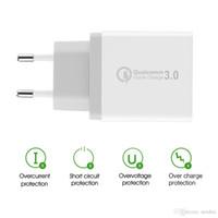 Quick Wall Charge QC 3.0 شاحن سريع 3 منافذ USB الجدار شاحن محول الاتحاد الأوروبي / الولايات المتحدة / المملكة المتحدة التوصيل للهواتف الذكية سامسونج S8 آيفون 5 6 7 8 X