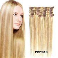 Livre DHL Silky Clip de Remy Hetero indiana in / on Human Hair Extensions Preto Brown Loira cor entrega rápida