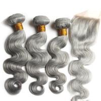 Gri Saç Kapatma Ile Bakire Insan Brezilyalı Saç Vücut Dalga Dantel Kapatma Ağartılmış Knots Ile Bebek Saç Saf Renk # Grey Demetleri