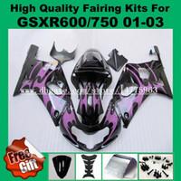 طقم هدايا 9Gifts لسوزوكي GSXR 600 750 2001 2002 2003 GSXR600 GSXR750 01 02 03 K1 GSX-R600 GSX-R750 01-03 أطقم السهام أرجوانية اللون الأسود