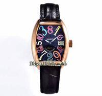 Ore di alta qualità Crazy Hours 8880 Ch Quadrante nero Automatico orologio da uomo in oro rosa cinturino in pelle di alta qualità nuovo sport orologi economici