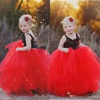 Più nuovo nero e rosso Puffy Flower Girls Dresses lunghezza del pavimento Tulle Princess Ball Gown Little Kids abiti da festa formale Abiti compleanno arabo