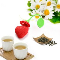 Whoesale Nuovo Silicone Cute Red Strawberry con foglia Tea Leaf Strainer Tea Spice Tea Infus Filter