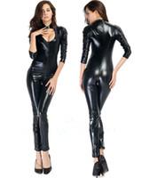 Sexy mujeres del cuero de imitación Negro flaco Catsuit Body escotado Mono wetlook Crotchless Partido Leotardo noche de Clubwear del traje S-5XL