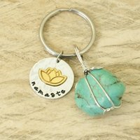 Personalized Lotus Keychain Yoga Key Rings Spiritual Keychai...