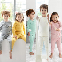 Ins Pijama Setleri Çocuklar Pamuk Giyim Setleri Katı Bebek Üstleri Pantolon Kıyafetler Kızlar Kış Pijama Gecelikler Bebek Pijama Çocuk Giyim B2951