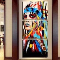 3Pcs set Native American Girl Feathered Women Modern Home Wa...