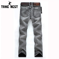 Wholesale-Man's Popular Jeans 2016 Regular Water-washed High Quality Light Grey Plus Size 28-38 For Male Popular For Male 119