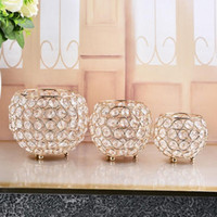 Gold Crystal candle holder metal candle stand candelabra cen...