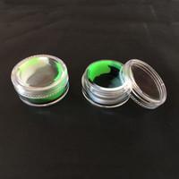 Contenitore di stoccaggio del Dab del silicone del vaso della cera 5ml Contenitore dell'olio di Slick del bastone antiaderente con lo schermo acrilico 2pcs / lot