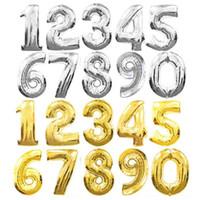 Grande 32 pollici oro argento numero palloncino foglio di alluminio palloncini a elio compleanno decorazione della festa nuziale decorazione forniture