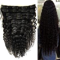 Grampo afro-americano em extensões de cabelo humano 100g 120g 8 pcs Natural Preto afro kinky curly clip