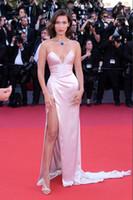 Bella Hadid Cannes Film Festivali 2021 Inci Pembe Straplez Uyluk-Yüksek Bölünmüş Kayma Ünlü Elbiseler Balo Abiye Custom Made