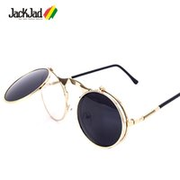 All'ingrosso-JackJad 2017 New Fashion VINTAGE Round STEAMPUNK Flip Up Occhiali da sole Steam Punk Clamshell Design Occhiali da sole Oculos De Sol