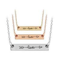 Collar de letras Amor Minimalista Cupido Color Rosa Color Palillo Colgante Collares Simplemente flecha horizontal para las mujeres Hip Hop Jewelry Drop Ship